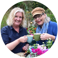 Image of the crafty gardeners diringking tea to illustrate the fun you can have bringing a friend to one of their floral craft or garden design workshops in somerset, wiltshire, bath and bristol