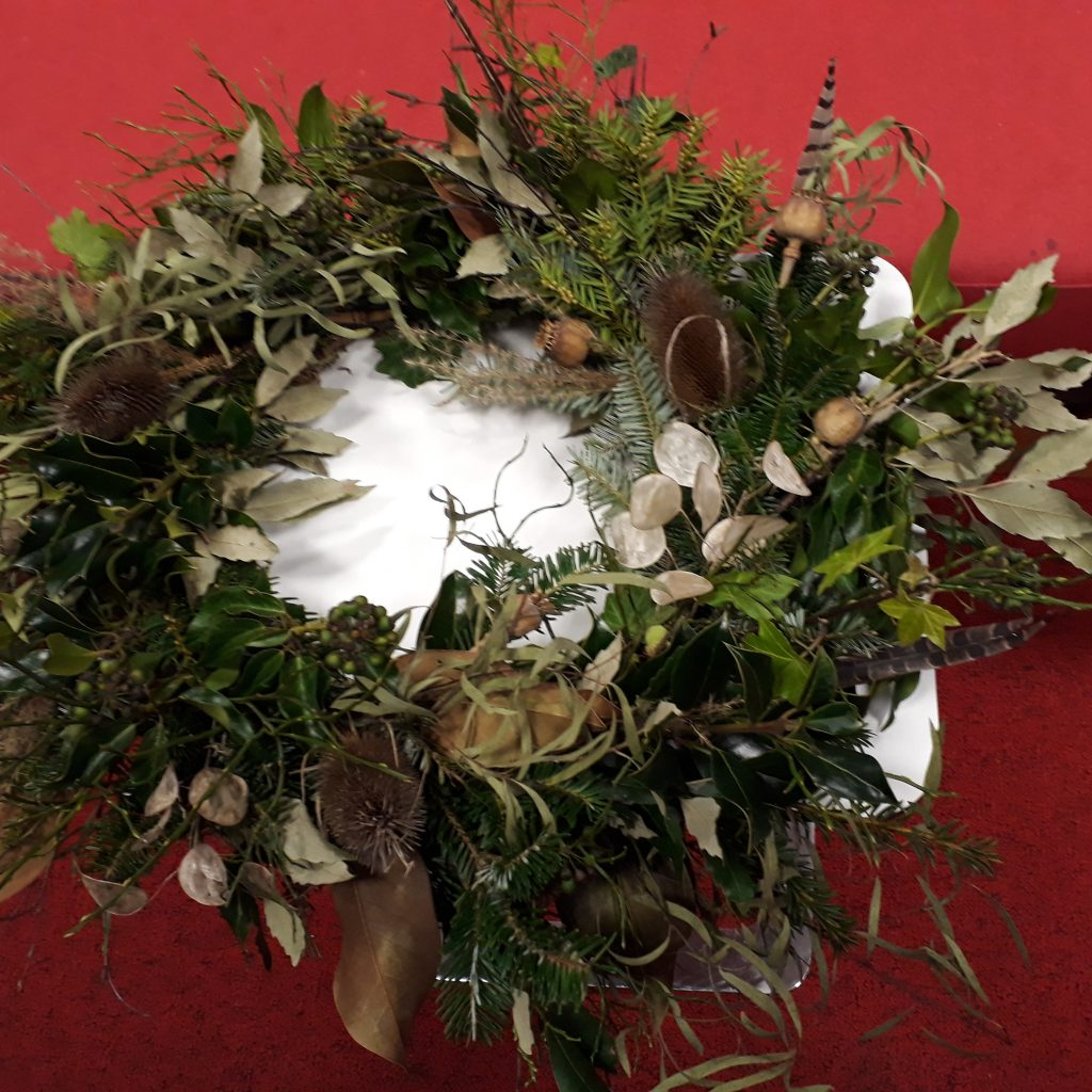 Christmas wreath made at a Bristol workshop